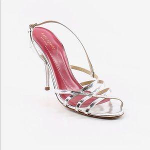 Kate Spade Strappy Silver Metallic Heels Size 9